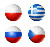 Soccer UEFA euro 2012 cup - group A flags on soccer balls — Stock Photo