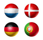 Soccer UEFA euro 2012 cup - group B flags on soccer balls — Stock Photo