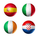 Soccer UEFA euro 2012 cup - group C flags on soccer balls — Stock Photo