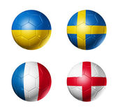 Soccer UEFA euro 2012 cup - group D flags on soccer balls — Stock Photo