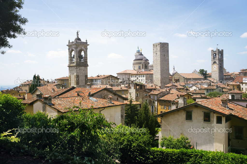 Bergamo Citta Alta old town scenics. Bergamo, Lombardy, Italy.  Stock Photo #8738400