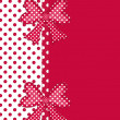 Polka dot gift bows and ribbon border on red - Stock Photo