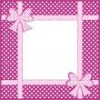 Foto Stock: Purple polka dot background with gift bows and ribbons