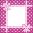 图库照片: Purple polka dot background with gift bows and ribbons