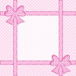 Pink polka dot background with gift bows and ribbons — Stock Photo