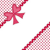 Red polka dot gift bow and ribbon corner border — Stock Photo