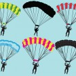 Stock Vector: Parachutist collection