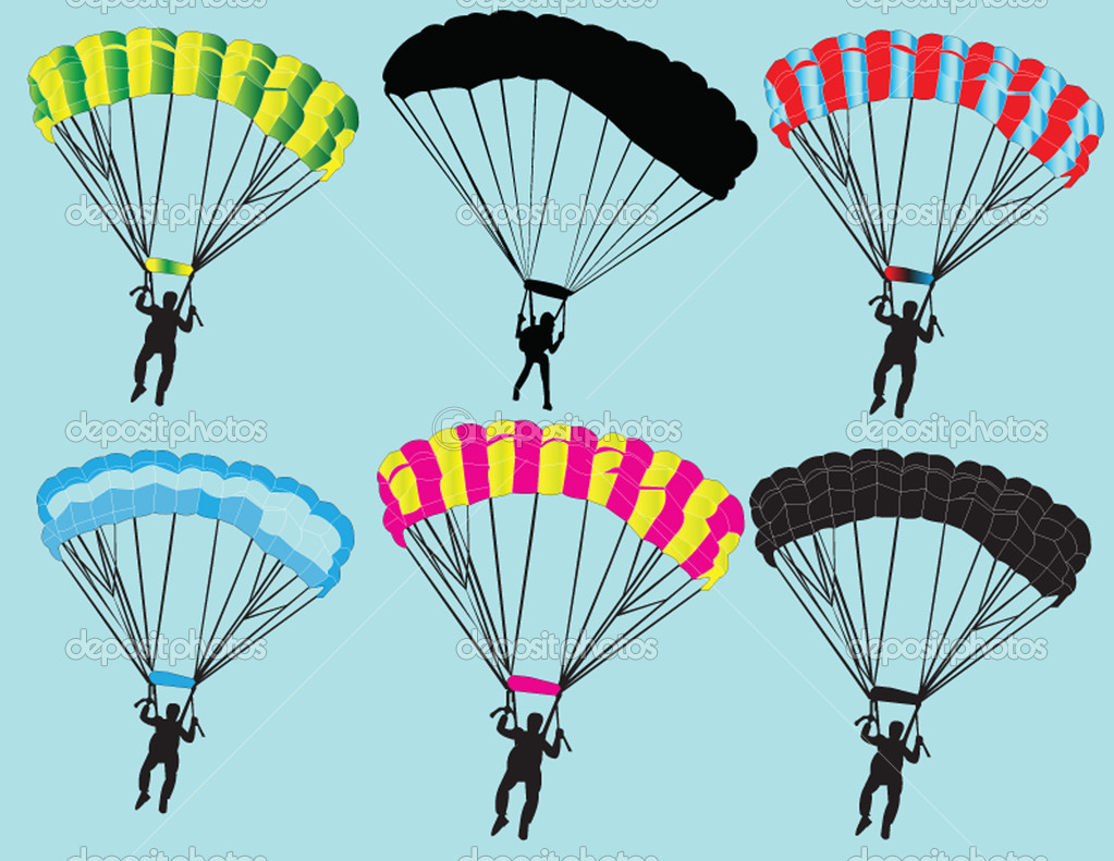 Parachutist collection - vector — Stock Vector #9934246