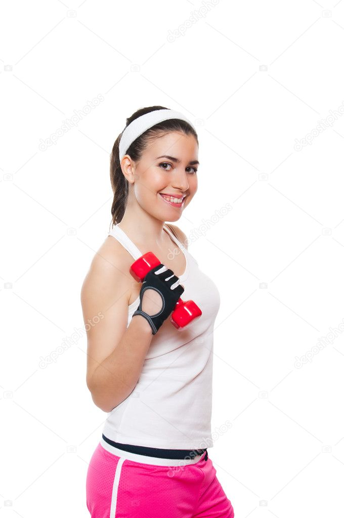 Attractive fitness girl workingout. Isolated on white — Stock Photo #10252393