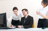 Young group of business working at the office — Stock Photo