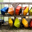 Stock Photo: Colorful Kayaks For Rental