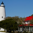 Ocracoke Island Lighthouse at the North Carolina Outer Banks — Stock Photo