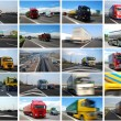 Photo collage of trucks — Stock Photo