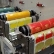 Industrial printshop: Flexo press printing — Stock Photo