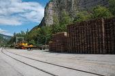 Hydraulic train crane - machinery — Stock Photo