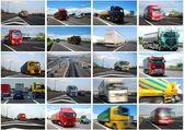 фото коллаж грузовых автомобилей — Стоковое фото