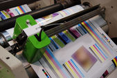 Industrial printshop: Flexo press printing — 图库照片