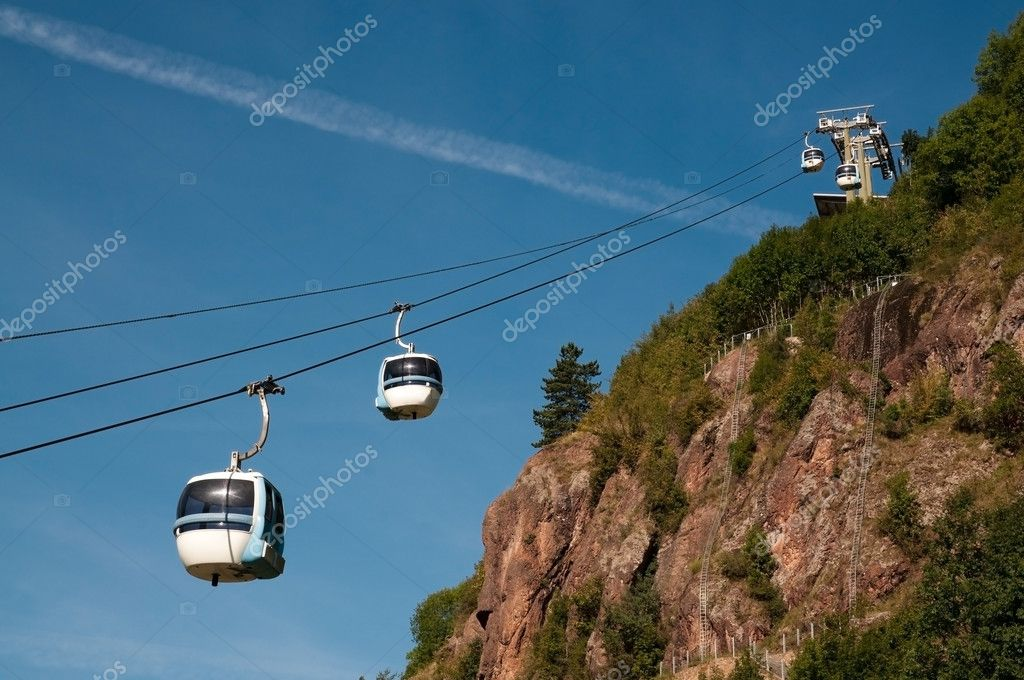 Cavalese Italy  city photos : Aerial tramway cable car Cermis, Cavalese, Italy — Foto Stock ...
