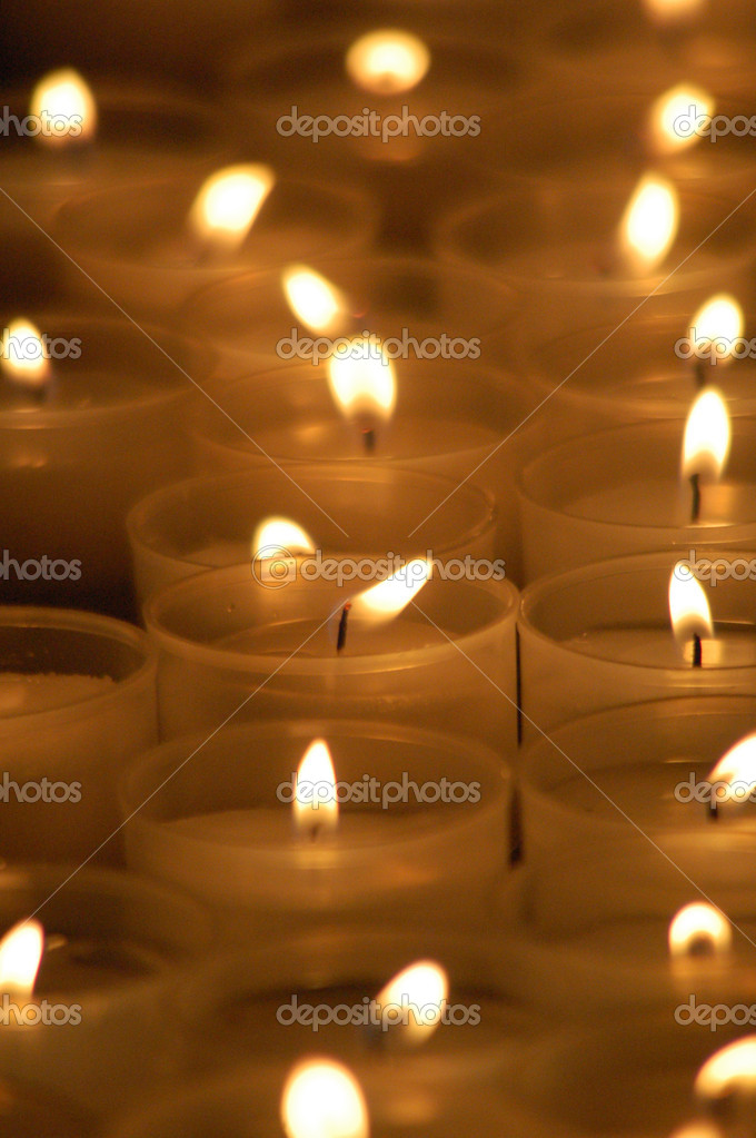 Candles in the italian church (close-up) — Stock Photo #9939608