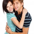 Stock Photo: Young happy couple love smiling