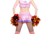 Cheerleader with pompoms — Stock Photo