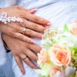 Stock Photo: Hands of a newly-married couple