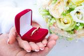 一对新婚夫妇的手 — 图库照片