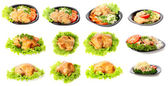 Plate with food, roast chicken,isolated. — Stock Photo