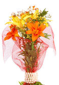 Bouquet lilies, isolated. — Stock Photo