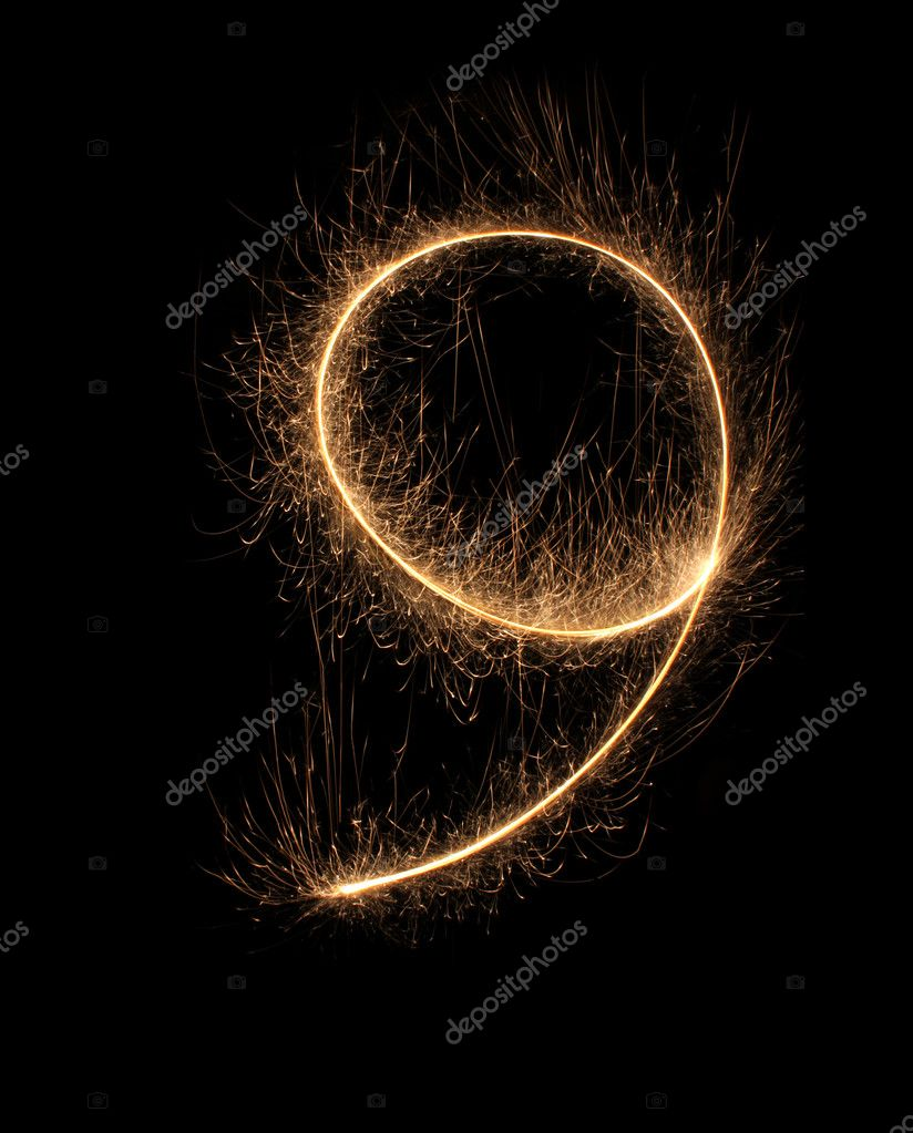 Number 9 from salute on a black background, it is isolated. — Stock Photo #10199026