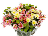 Bouquet from different flowers, on a white background, is isolat — Stock Photo