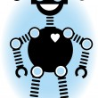 Royalty-Free Stock Vector Image: Robot Silhouette Cartoon Outline Blue