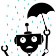 Unhappy Silhouette Robot in the rain holding Umbrella — Stock Vector
