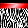 Zebra Stripes & Red Ribbon - Stock Vector