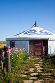 Yurt - Nomad's tent is the national dwelling of Inner Mongolia . — Stock Photo