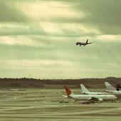 Airplane of airport — Stock Photo
