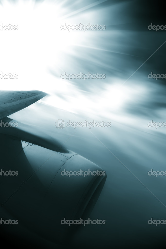 The airplane with the blue sky background. — Stock Photo #9603571