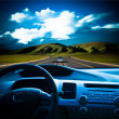Royalty-Free Stock Photo: Tavel to the future ,view from a car interior.