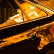 Night's light reflects to the glass on the windows of a car. — Stock Photo