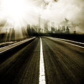 The abstract background of the road and city . — Stock Photo