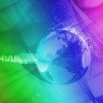 World map technology style against fiber optic background — Stock Photo #7965479