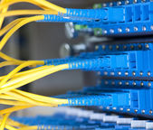 Communication and internet network server room — Foto Stock