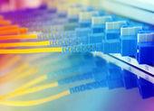 выстрел из сетевых кабелей и серверов в центре обработки данных технологий — Стоковое фото