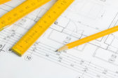 Architectural drawing and pencil — Stock Photo