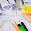 Architectural drawings, office tools — Stock Photo