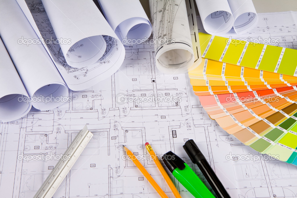 Architectural Drawings Office Tools Stock Photo