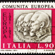 Postage stamp Italy 1970 Adenauer, Schuman, De Gasperi — Stock Photo