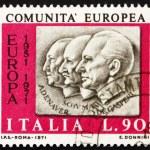 Postage stamp Italy 1970 Adenauer, Schuman, De Gasperi — Stock Photo