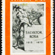 Stock Photo: Postage stamp Italy 1973 Title Page for Book about Salvator Rosa