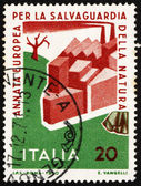 Postage stamp Italy 1970 Man Damaging Nature — Stock Photo